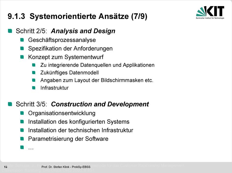 Infrastruktur Schritt 3/5: Construction and Development Organisationsentwicklung Installation des konfigurierten Systems Installation der technischen Infrastruktur