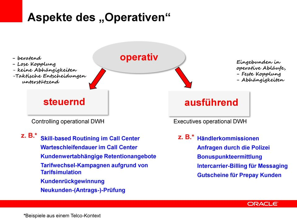 * Skill-based Routining im Call Center z. B.
