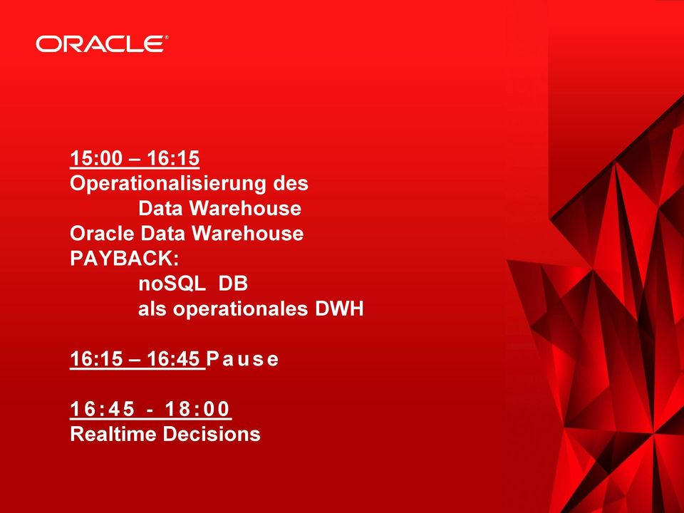 Data Warehouse PAYBACK: nosql DB als