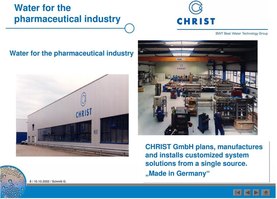 CHRIST GmbH plans, manufactures and installs