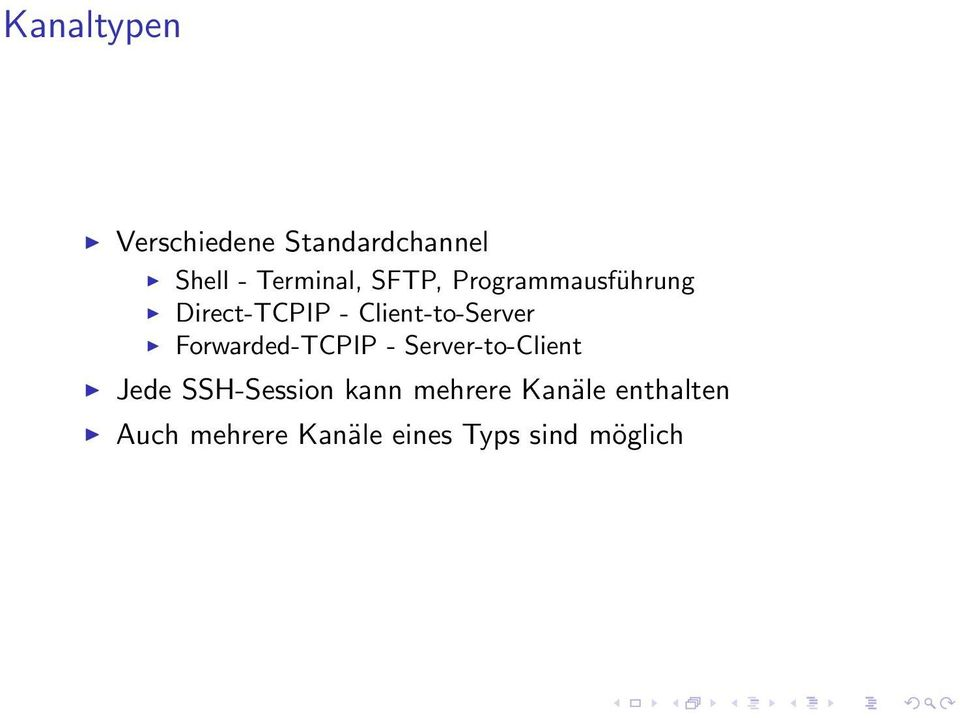 Forwarded-TCPIP - Server-to-Client Jede SSH-Session kann