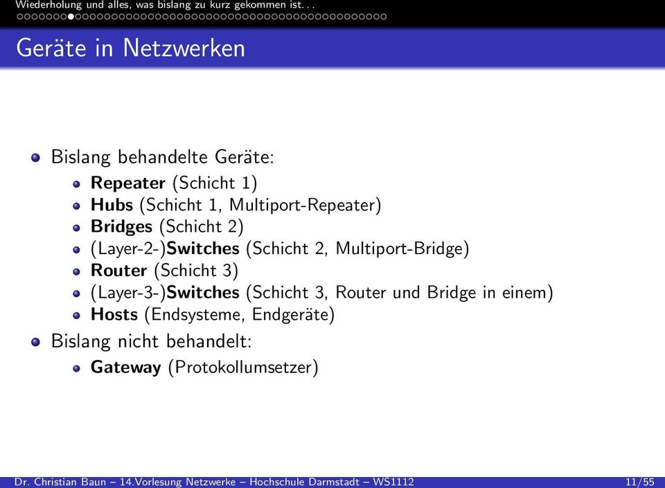 Repeater (Schicht 1) Hubs (Schicht 1, Multiport-Repeater) Bridges (Schicht 2) (Layer-2-)Switches