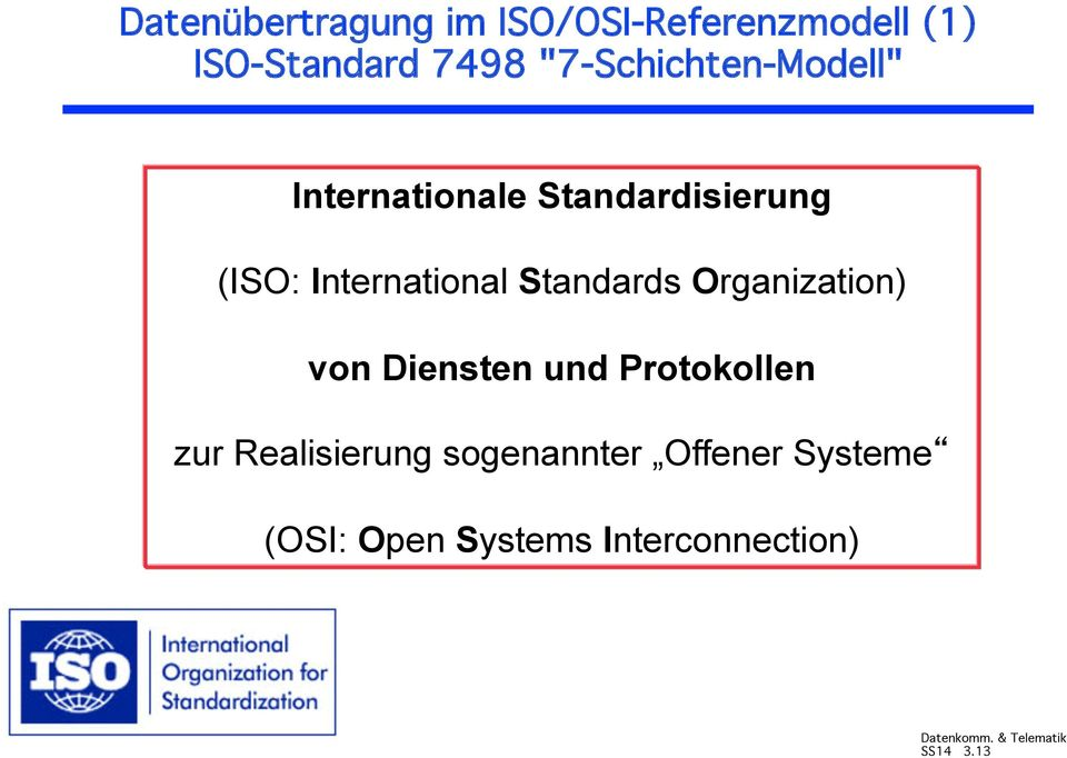 Internationale Standardisierung (ISO: International Standards
