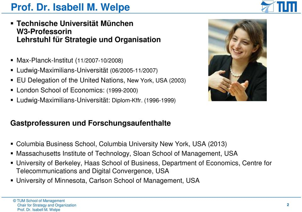 (1996-1999) Gastprofessuren und Forschungsaufenthalte Columbia Business School, Columbia University New York, USA (2013) Massachusetts Institute of Technology, Sloan School of