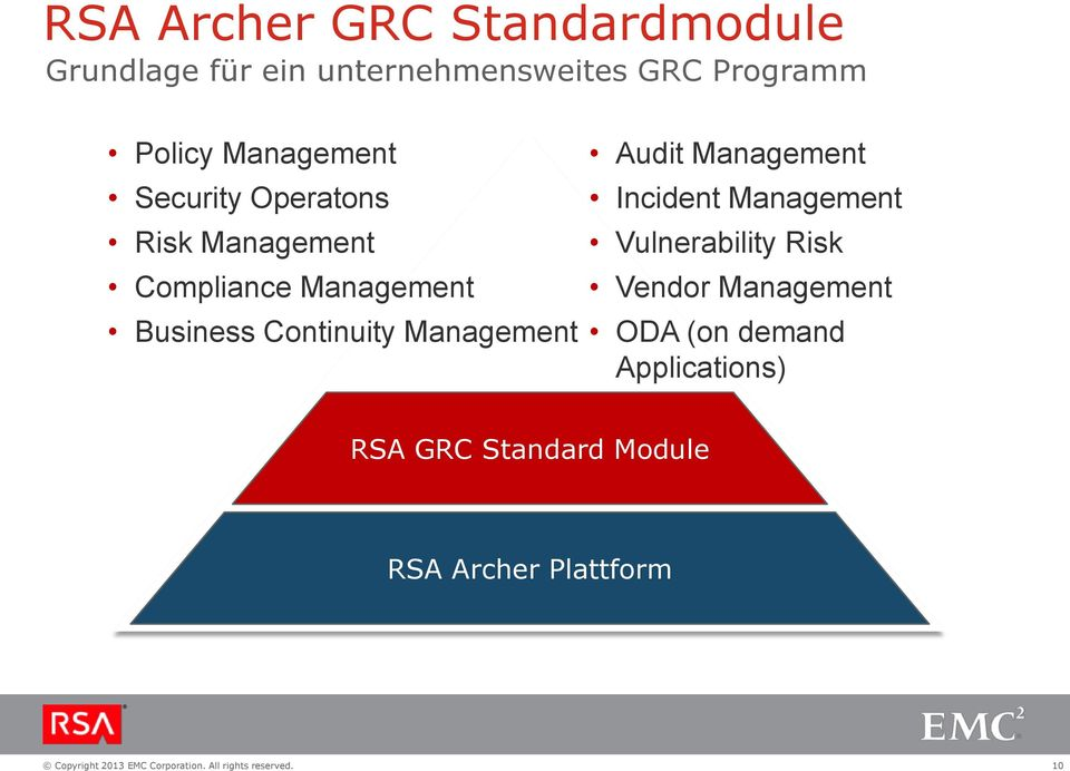 Continuity Management Audit Management Incident Management Vulnerability Risk