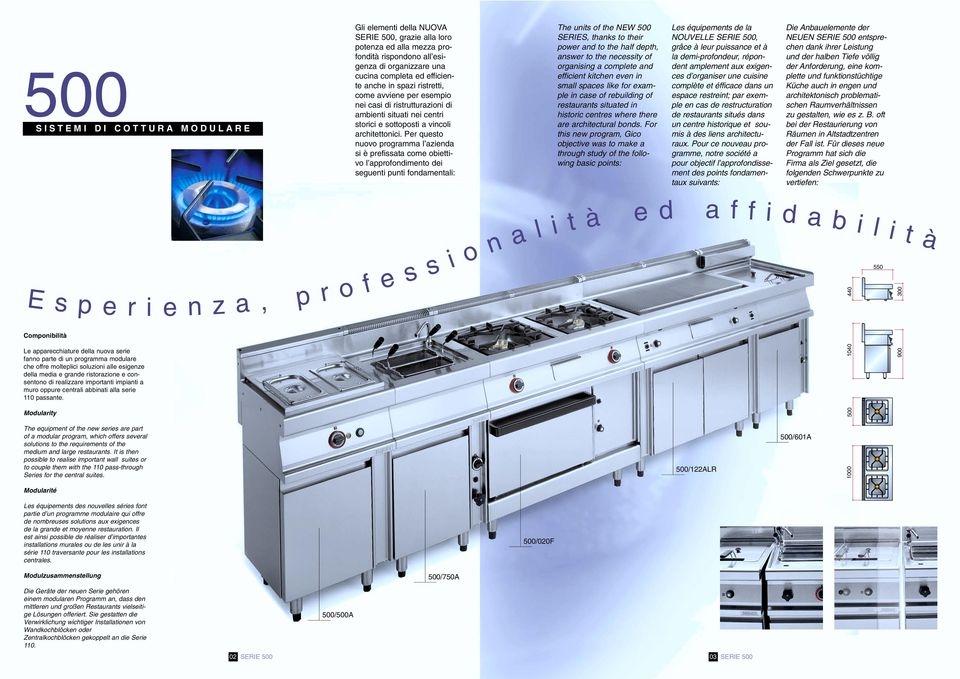 Modularity r i The equipment of the new series are part of a modular program, which offers several solutions to the requirements of the medium and large restaurants.