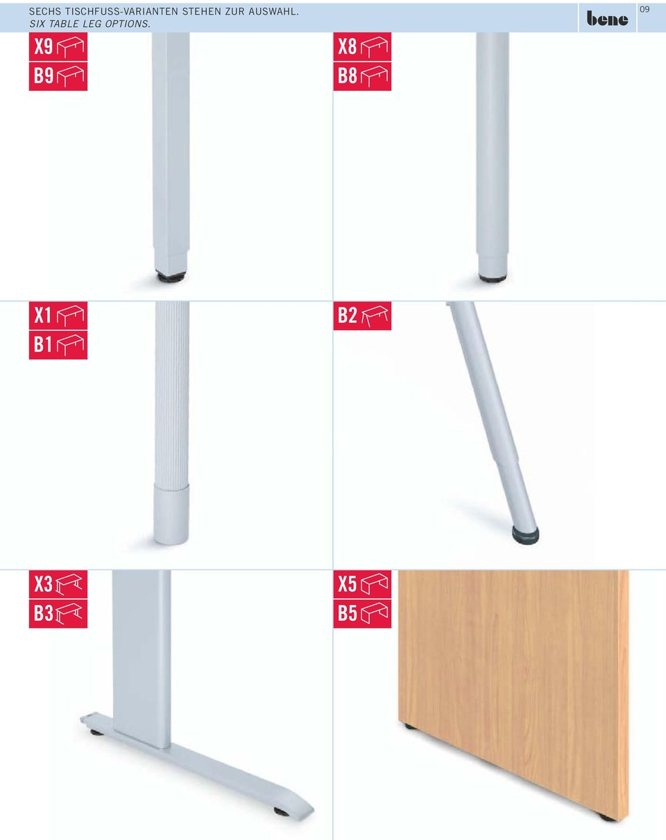 SIX TABLE LEG OPTIONS.