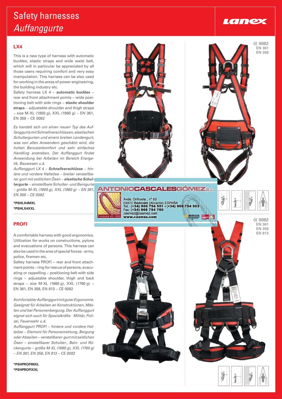 Safety harness LX 4 automatic buckles rear and front attachment points wide positioning belt with side rings elastic shoulder straps adjustable shoulder and thigh straps size M-XL (1800 g), XXL (1960