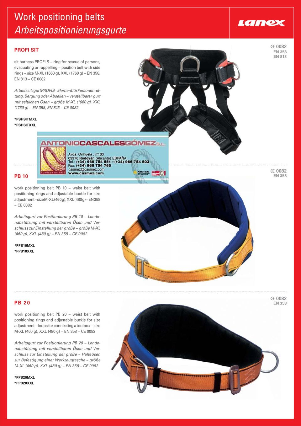 *PSHSITMXL *PSHSITXXL PB 10 EN 358 work positioning belt PB 10 waist belt with positioning rings and adjustable buckle for size adjustment size M-XL (460 g), XXL (480 g) EN 358 CE Arbeitsgurt zur