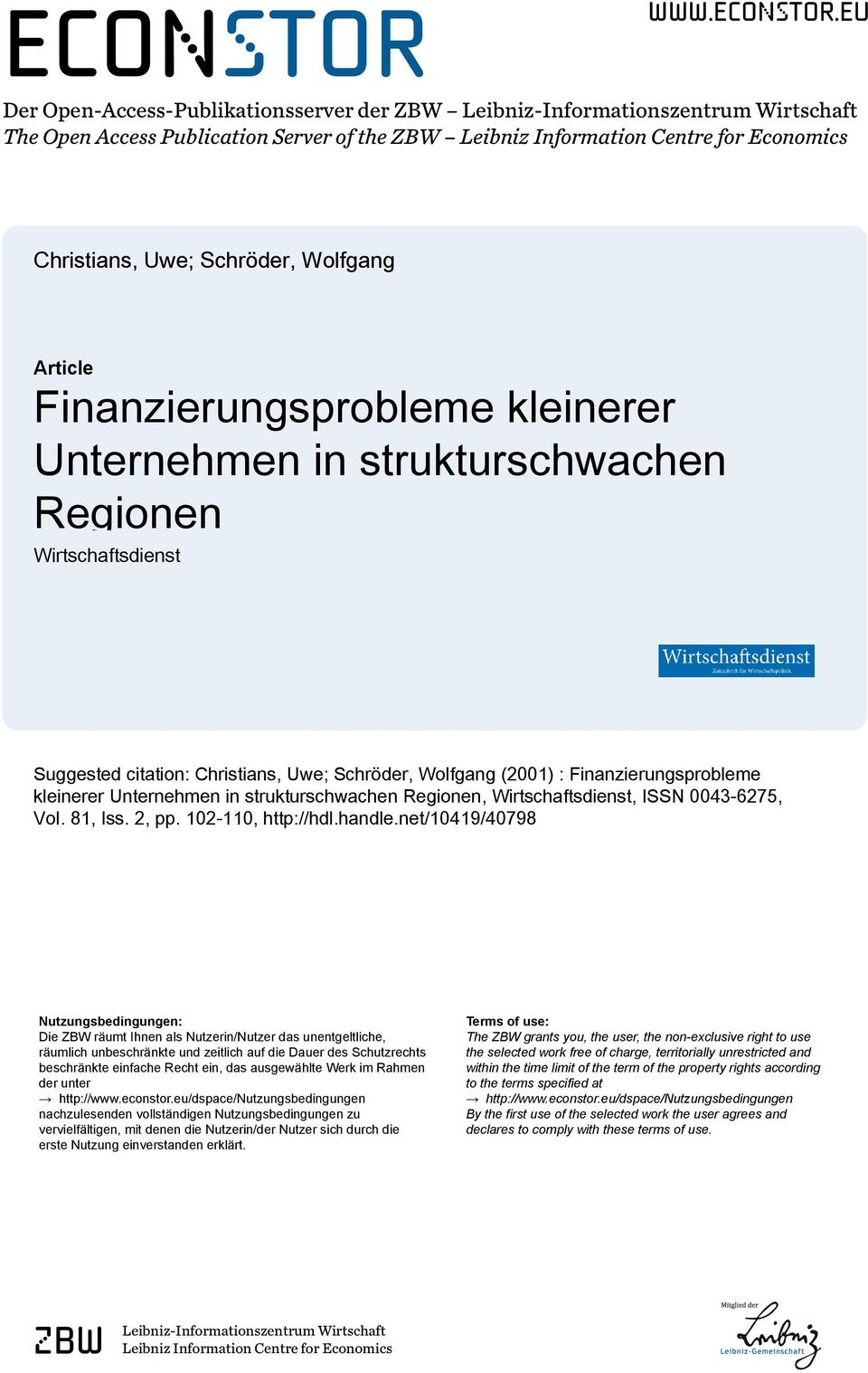 eu Der Open-Access-Publikationsserver der ZBW Leibniz-Informationszentrum Wirtschaft The Open Access Publication Server of the ZBW Leibniz Information Centre for Economics Christians, Uwe; Schröder,