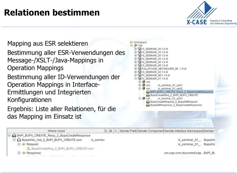 Bestimmung aller ID-Verwendungen der Operation Mappings in Interface-