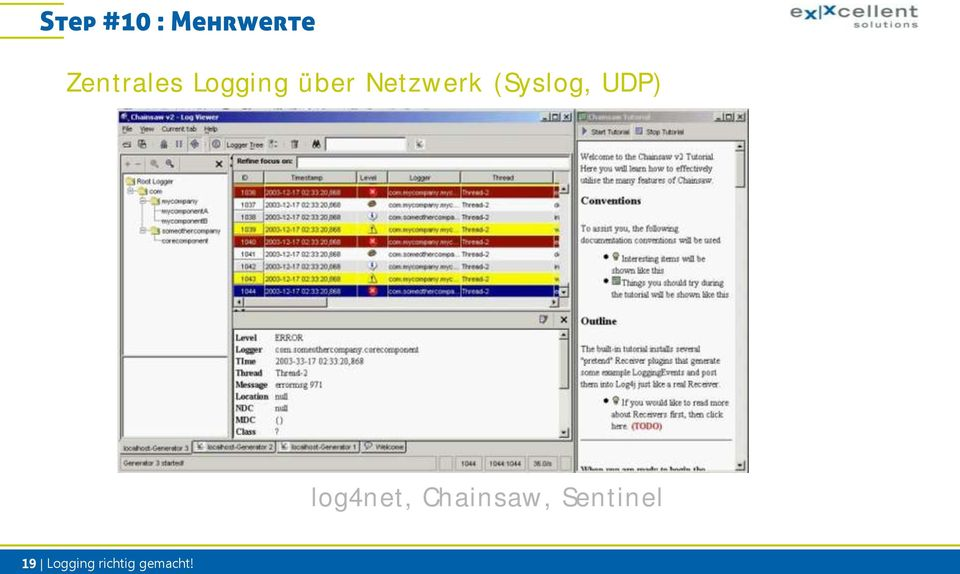 UDP) log4net, Chainsaw,