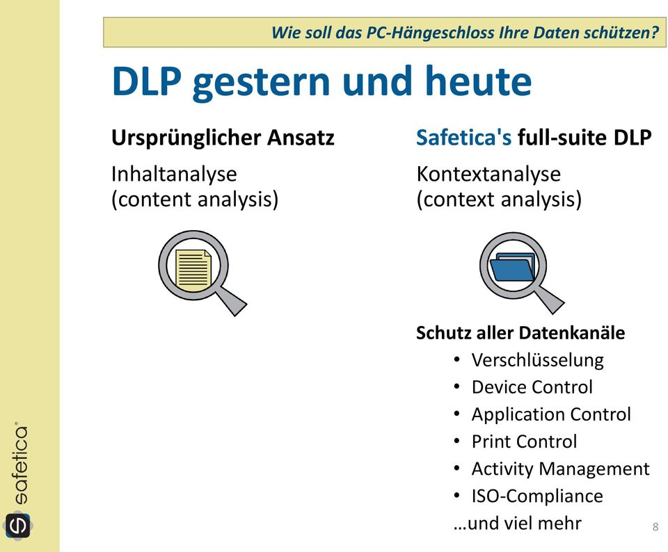Safetica's full-suite DLP Kontextanalyse (context analysis) Schutz aller