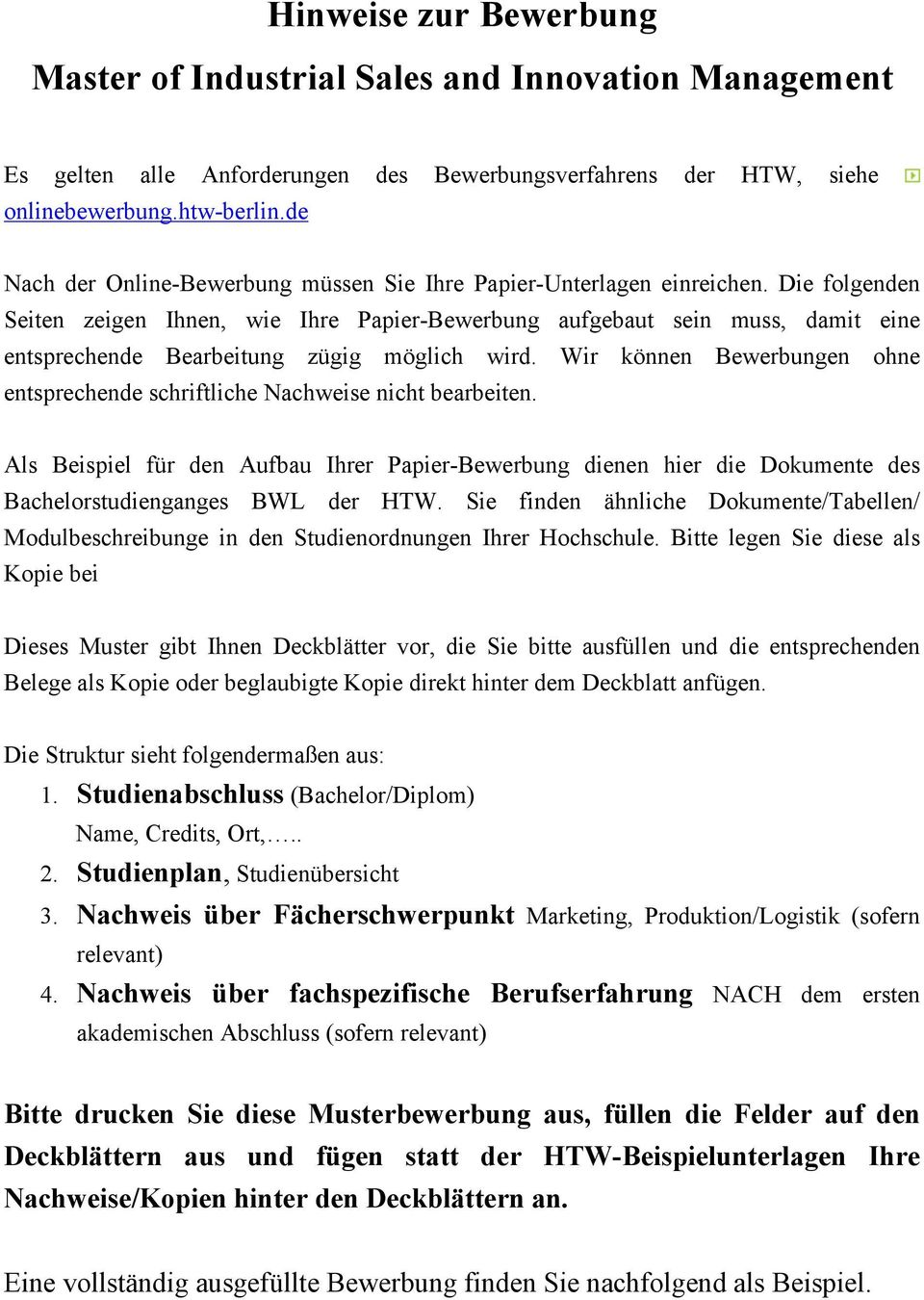 Hinweise zur bewerbung master of industrial sales and for Master ohne nc bwl