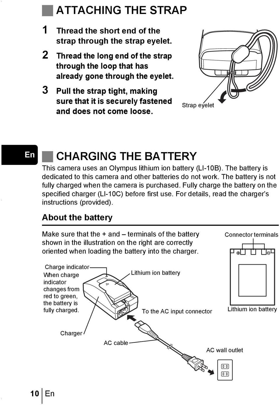 The battery is dedicated to this camera and other batteries do not work. The battery is not fully charged when the camera is purchased.
