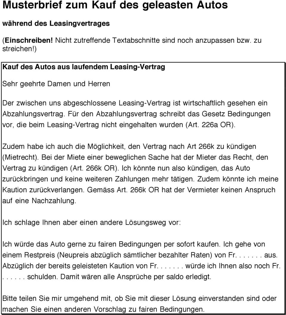 Standard-Brief zum Thema Leasing - PDF