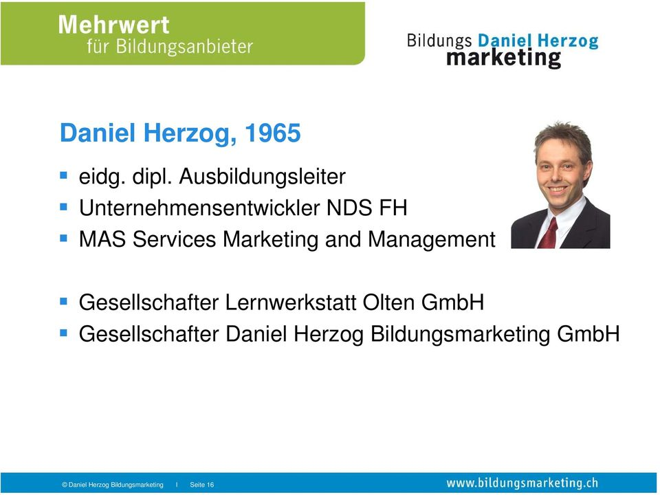 Marketing and Management Gesellschafter Lernwerkstatt Olten
