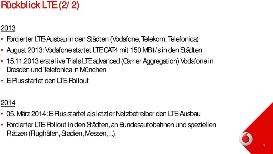 2013 erste live Trials LTE advanced (Carrier Aggregation) Vodafone in Dresden und Telefonica in München E-Plus startet den