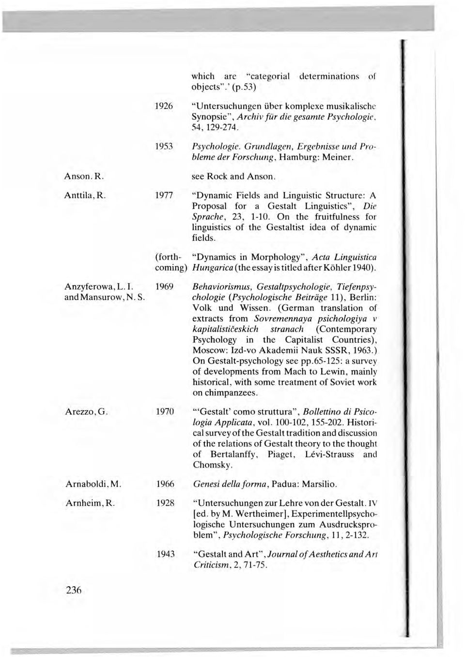 "Anson.R. Anttila,R. 1977 see Rock and Anson. ""Dynamic Fields and Linguistic Structure: A Proposal for a Gestalt Linguistics"", Die Sprache, 23, 1-10."
