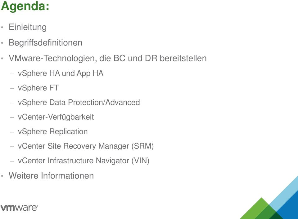 Protection/Advanced vcenter-verfügbarkeit vsphere Replication vcenter