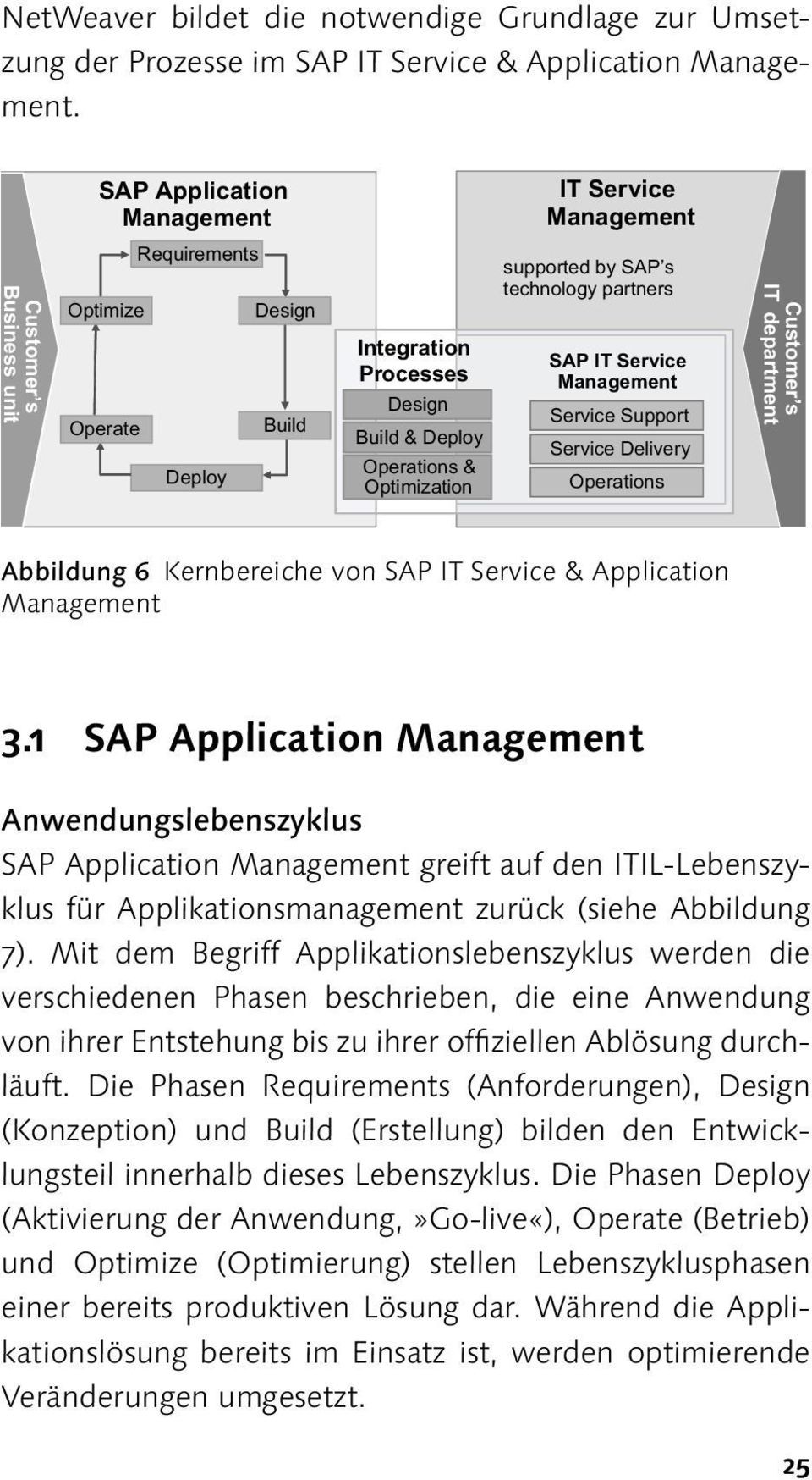 technology partners SAP IT Service Service Support Service Delivery Operations Customer s IT department Abbildung 6 Kernbereiche von SAP IT Service & Application 3.