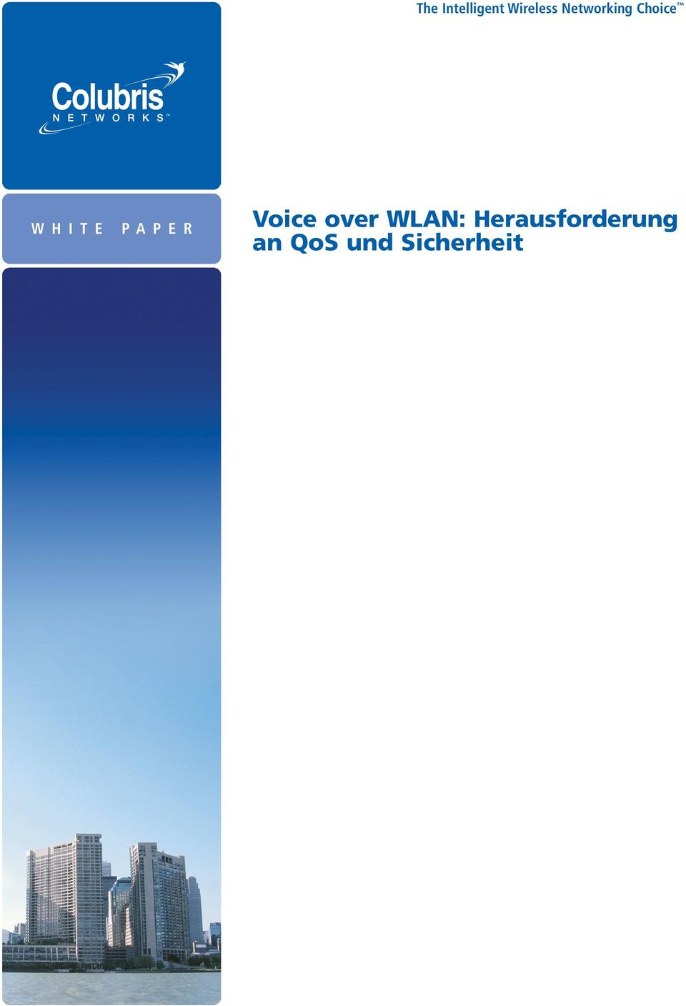 PAPER Voice over WLAN: