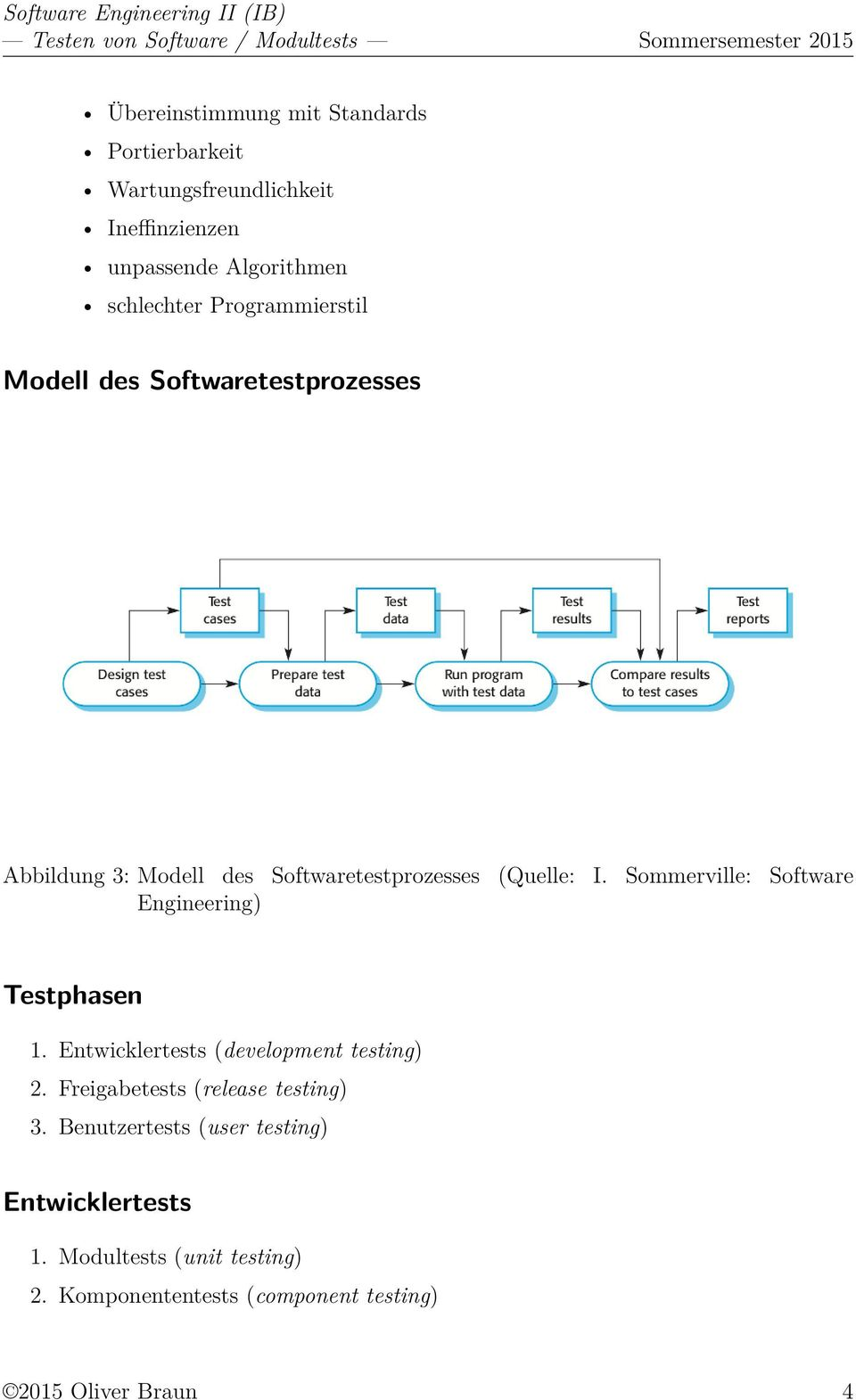 Sommerville: Software Engineering) Testphasen 1. Entwicklertests (development testing) 2.