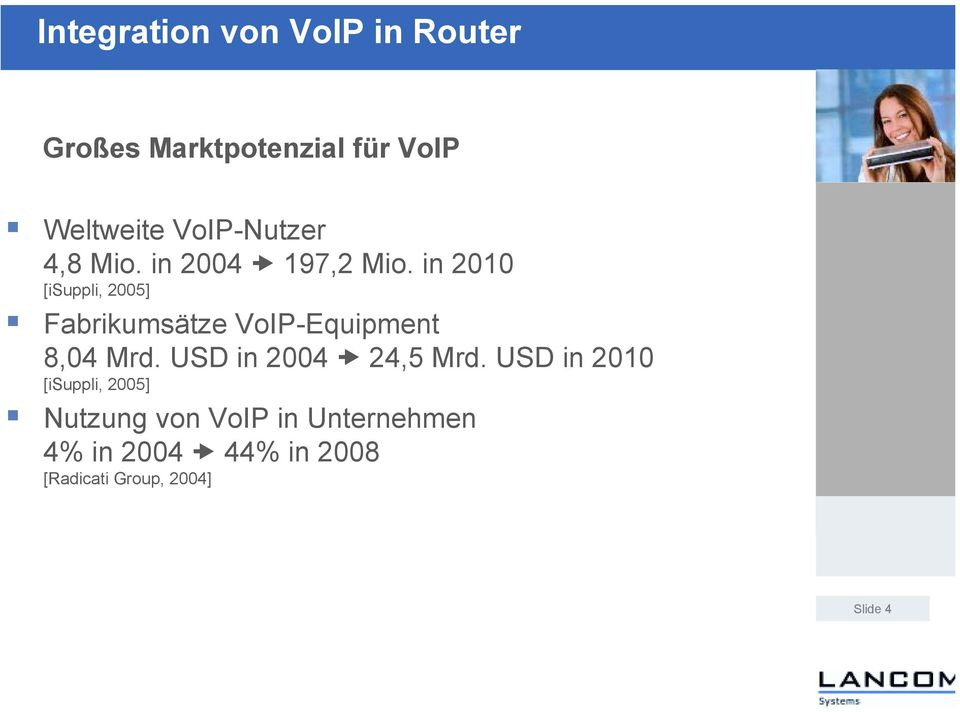 in 2010 [isuppli, 2005] Fabrikumsätze VoIP-Equipment 8,04 Mrd.