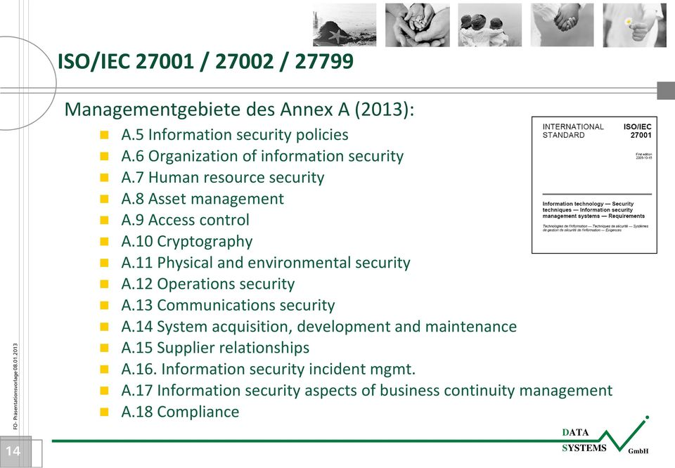 11 Physical and environmental security A.12 Operations security A.13 Communications security A.