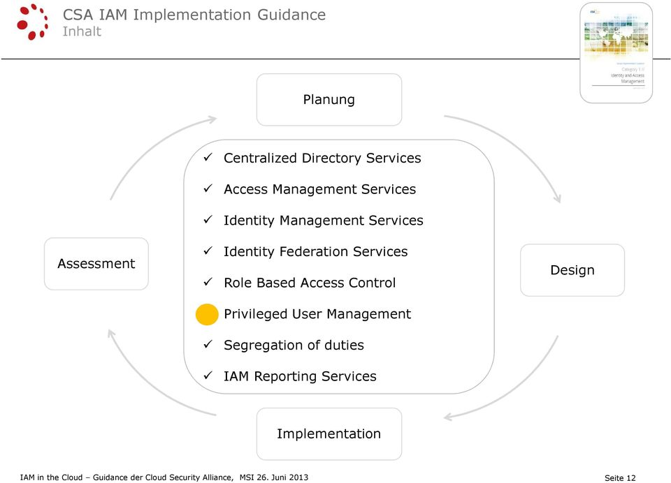 Based Access Control Privileged User Management Segregation of duties IAM Reporting Services