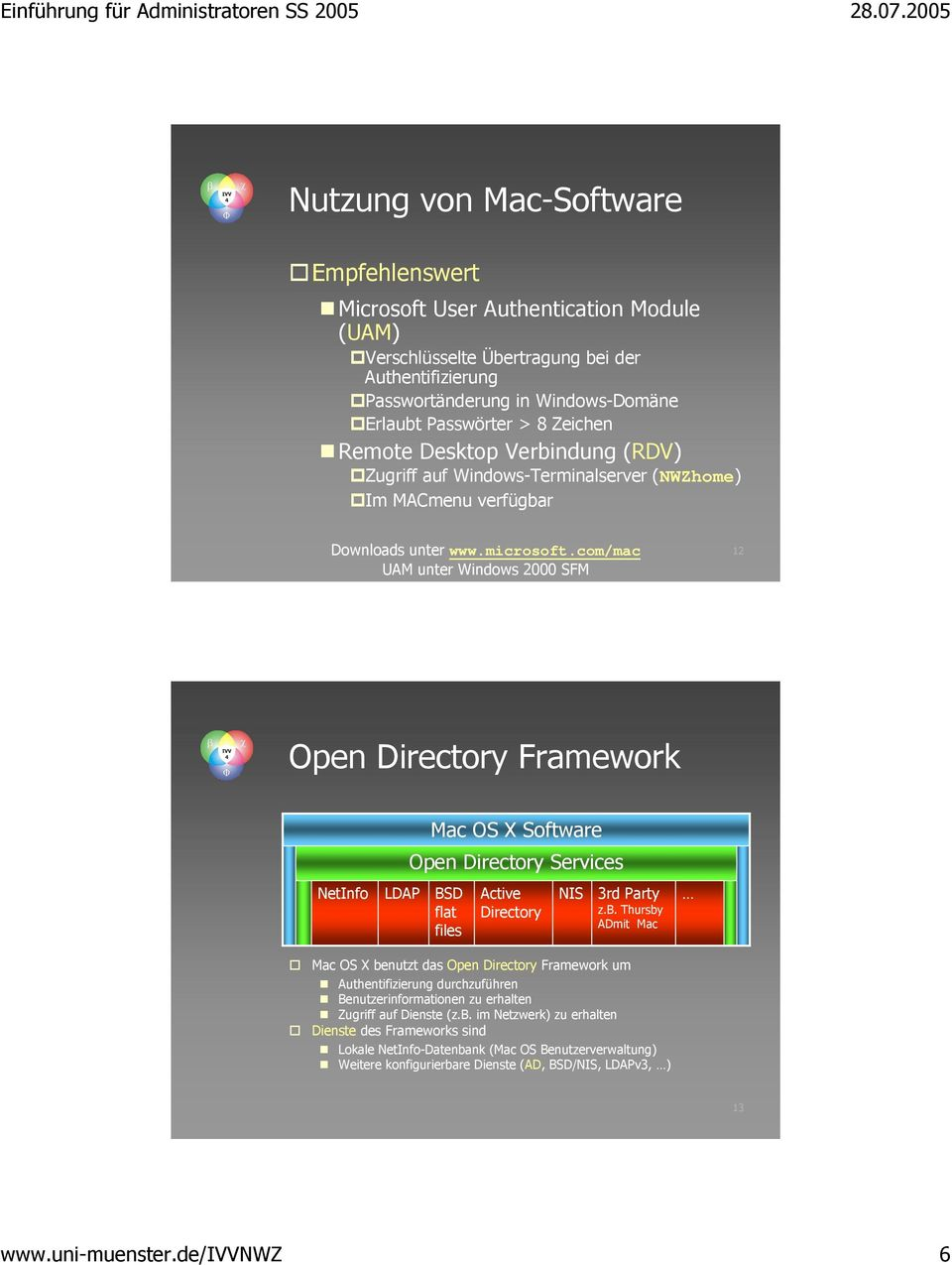 com/mac UAM unter Windows 2000 SFM 12 Open Directory Framework NetInfo LDAP Mac OS X Software Open Directory Services BSD flat files Active Directory NIS 3rd Party z.b.