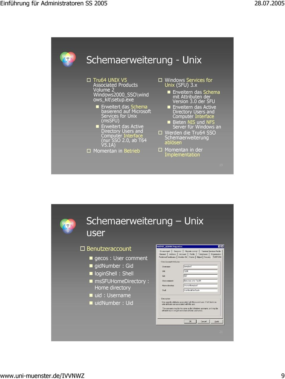 1A) Momentan in Betrieb Windows Services for Unix (SFU) 3.x Erweitern das Schema mit Attributen der Version 3.