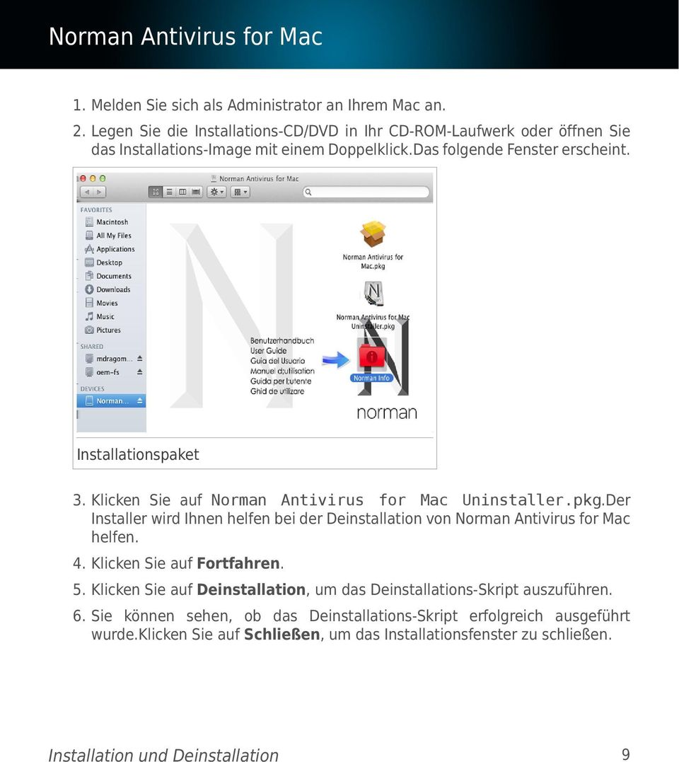 Installationspaket 3. Klicken Sie auf Norman Antivirus for Mac Uninstaller.pkg.