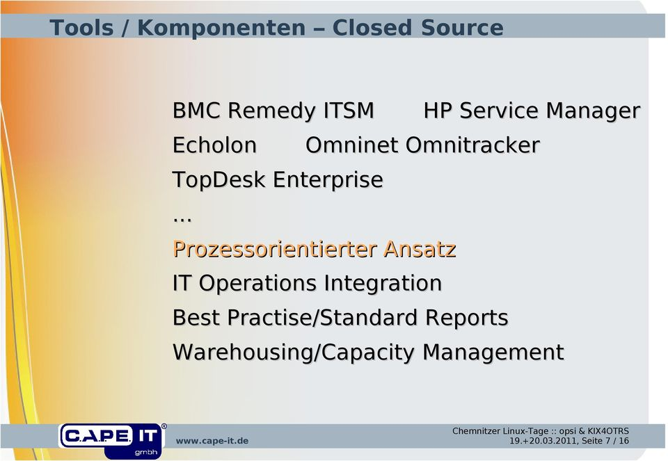 .. Prozessorientierter Ansatz IT Operations Integration Best