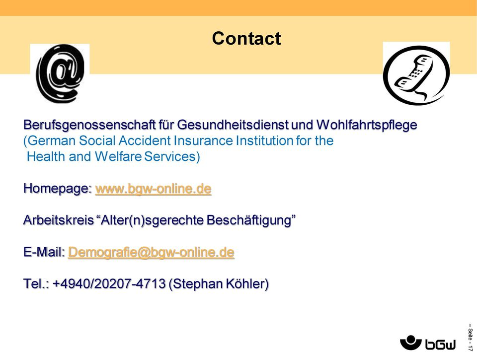 Services) Homepage: www.bgw-online.