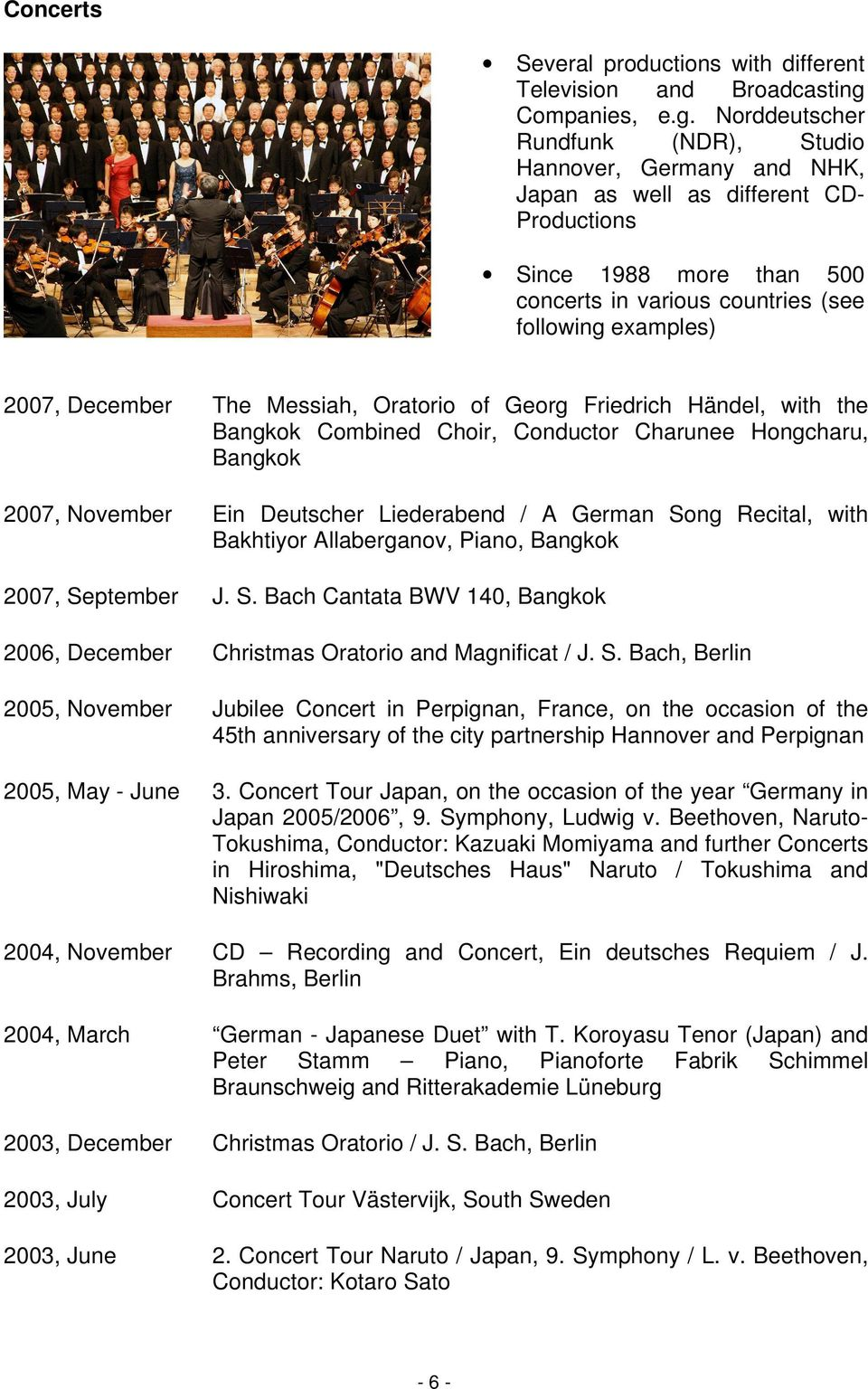 Norddeutscher Rundfunk (NDR), Studio Hannover, Germany and NHK, Japan as well as different CD- Productions Since 1988 more than 500 concerts in various countries (see following examples) 2007,