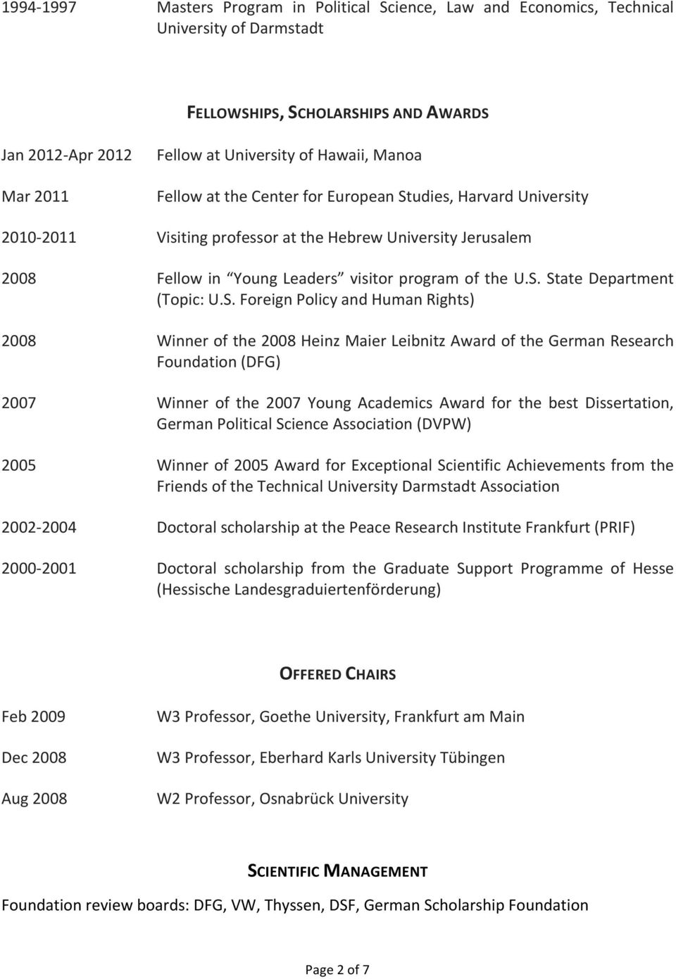 S. Foreign Policy and Human Rights) 2008 Winner of the 2008 Heinz Maier Leibnitz Award of the German Research Foundation (DFG) 2007 Winner of the 2007 Young Academics Award for the best Dissertation,
