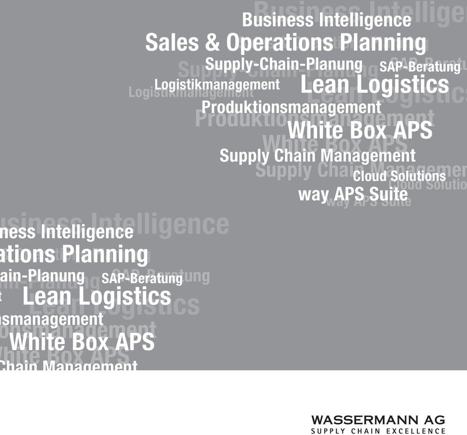 Logistics smanagement nsmanagement White Box APS hite Box APS hain Management ply Chain Management Cloud Solutions Cloud Solutions way APS Suite way APS Suite SAP-Beratung Lean