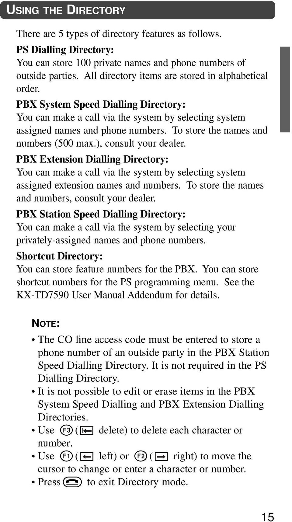 To store the names and numbers (500 max.), consult your dealer. PBX Extension Dialling Directory: You can make a call via the system by selecting system assigned extension names and numbers.