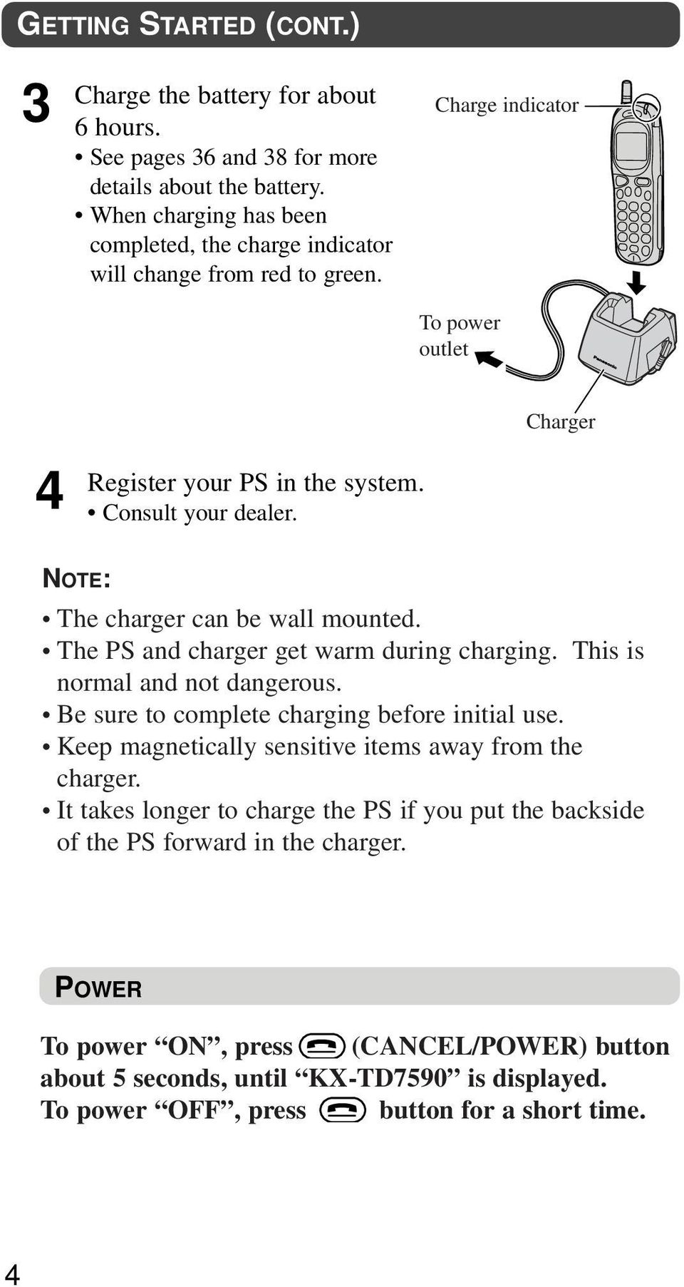 Charger NOTE: The charger can be wall mounted. The PS and charger get warm during charging. This is normal and not dangerous. Be sure to complete charging before initial use.
