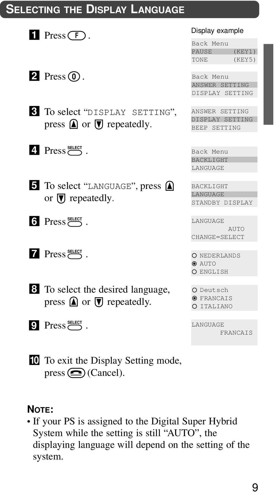 Display example Back Menu PAUSE (KEY) TONE (KEY5) Back Menu ANSWER SETTING DISPLAY SETTING ANSWER SETTING DISPLAY SETTING BEEP SETTING Back Menu BACKLIGHT LANGUAGE BACKLIGHT LANGUAGE