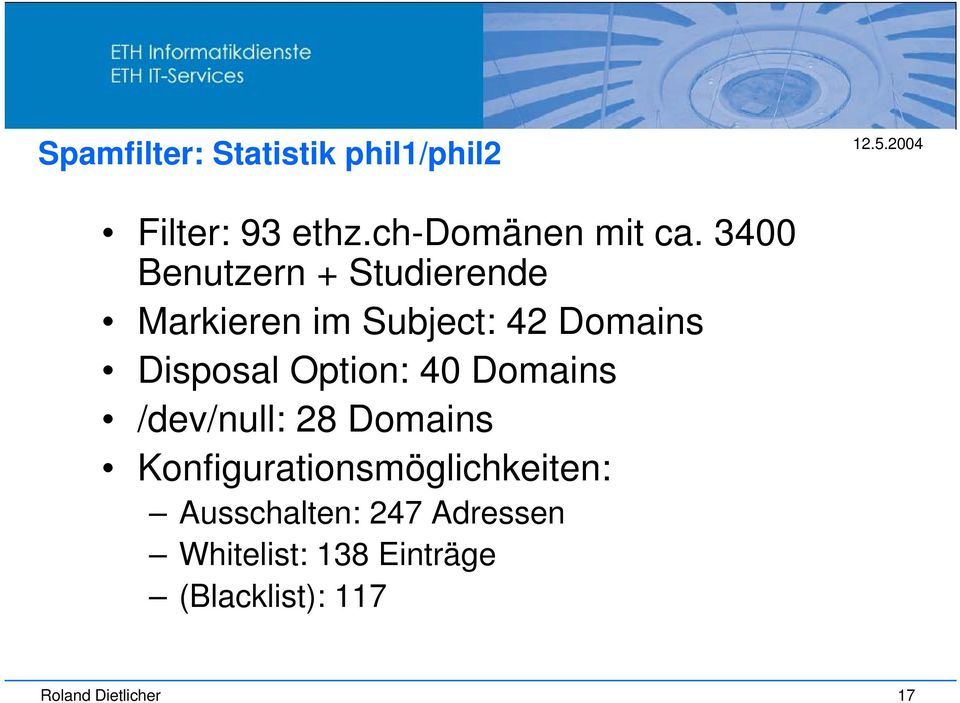 Option: 40 Domains /dev/null: 28 Domains Konfigurationsmöglichkeiten: