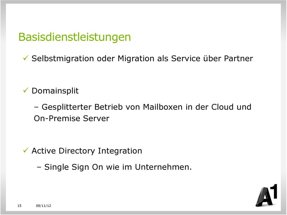 von Mailboxen in der Cloud und On-Premise Server Active