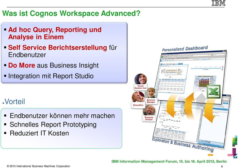 Endbenutzer Do More aus Business Insight Integration mit Report Studio Vorteil