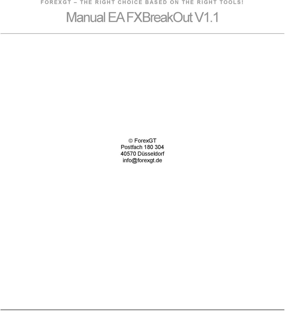 Manual EA FXBreakOut V1.