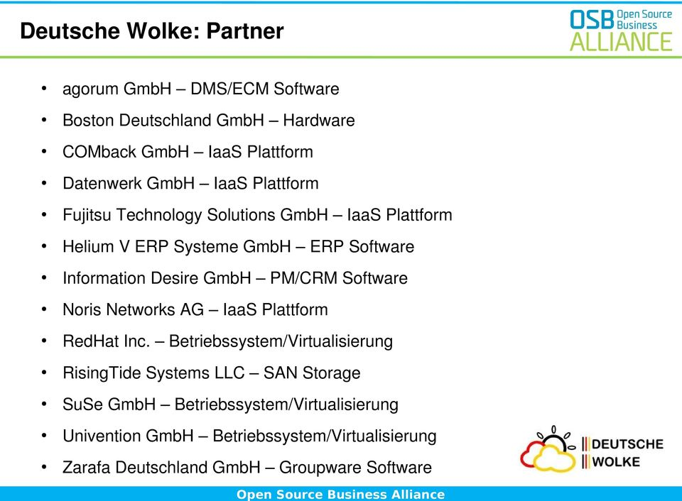 PM/CRM Software Noris Networks AG IaaS Plattform RedHat Inc.