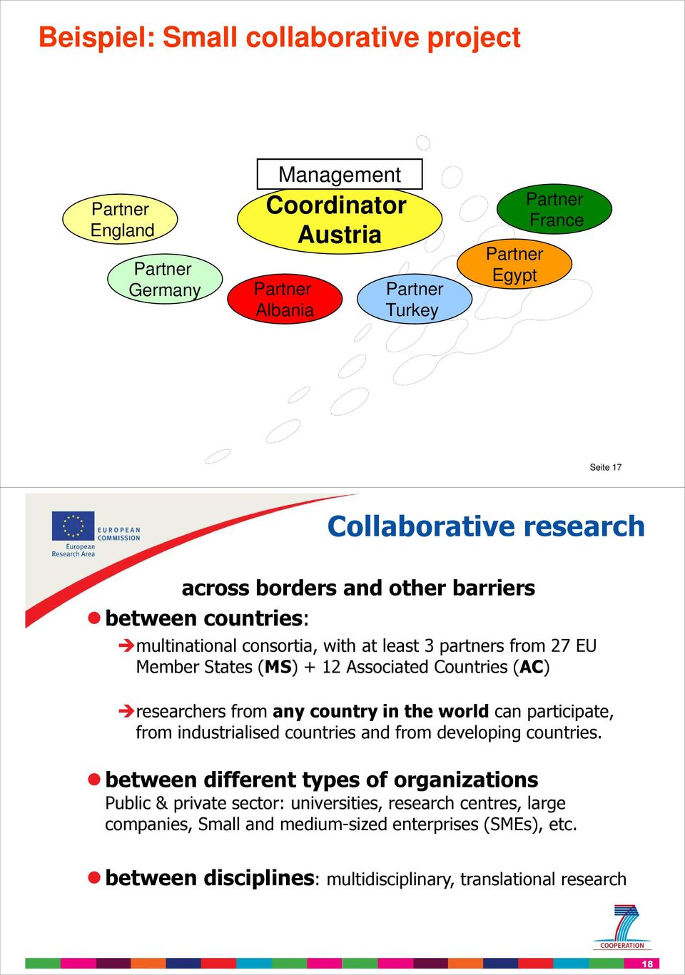 Countries (AC) researchers from any country in the world can participate, from industrialised countries and from developing countries.
