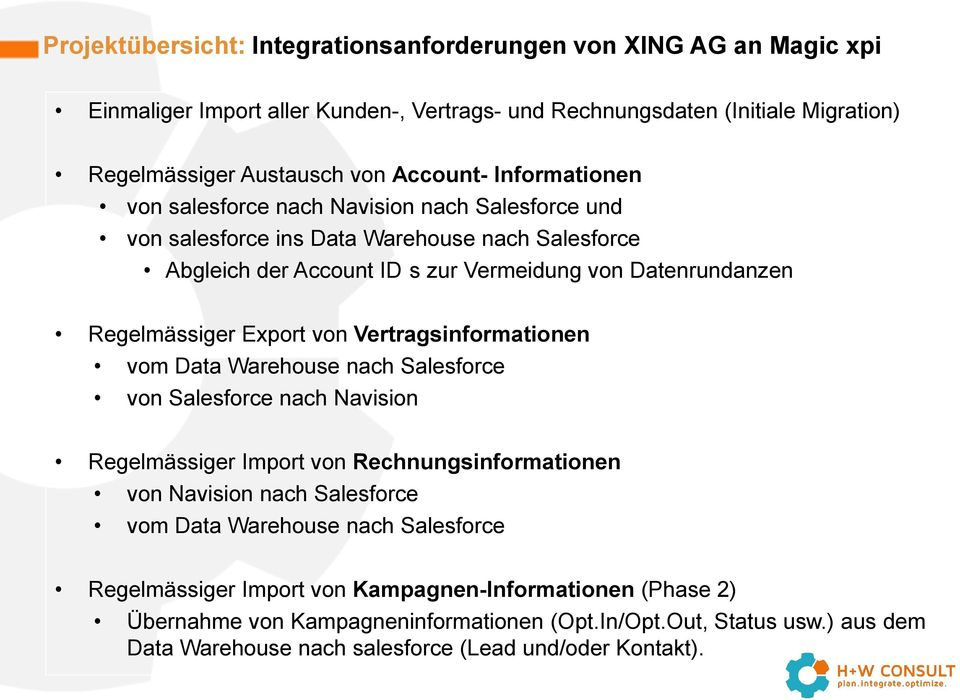 von Vertragsinformationen vom Data Warehouse nach Salesforce von Salesforce nach Navision Regelmässiger Import von Rechnungsinformationen von Navision nach Salesforce vom Data Warehouse nach