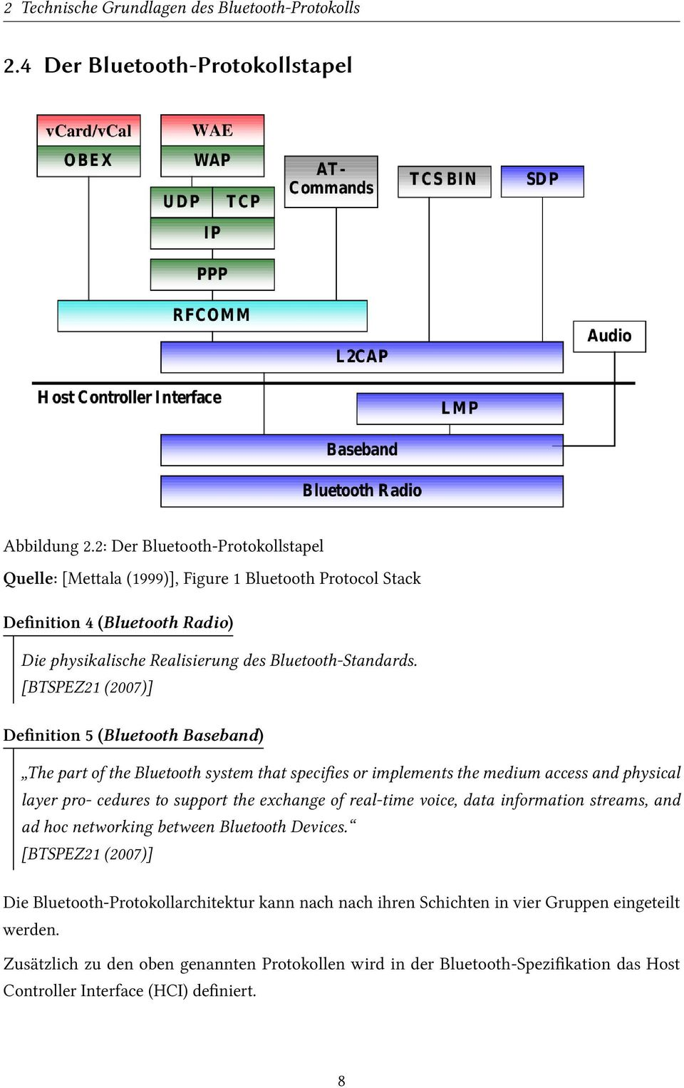 [BTSPEZ21 (2007)] Definition 5 (Bluetooth Baseband) The part of the Bluetooth system that specifies or implements the medium access and physical layer pro- cedures to support the exchange of