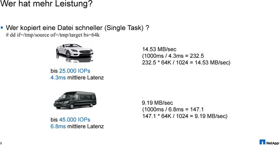 3ms mittlere Latenz 14.53 MB/sec (1000ms / 4.3ms = 232.5 232.5 * 64K / 1024 = 14.